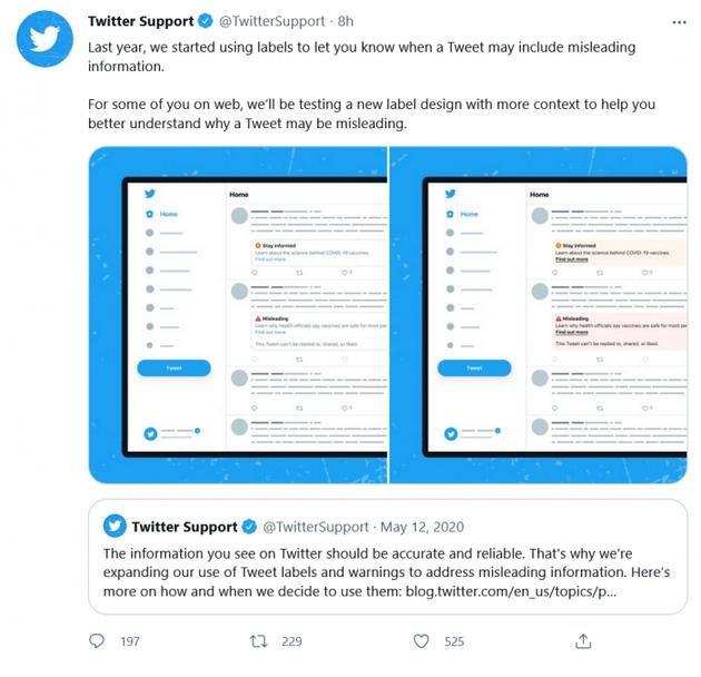Twitter正在测试吸引注意力的虚假信息标签